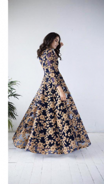 Blue & Antique Gold Gown